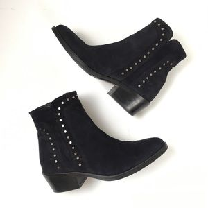 Sesto Meucci Suede Navy Blue Studded Ankle Booties